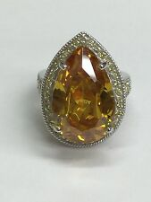 925 Silver Cocktail Ring With Pear Shape Yellow Citrine And CZ Stones Size 8