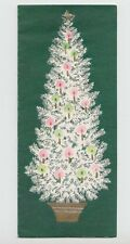 Lovely Pink & Green Christmas Tree, Vintage Glittered Christmas Greeting Card!