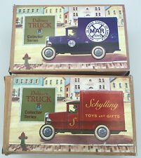 Lot Of 2 Vintage Tin Delivery Trucks Mar/ Schylling Original Boxes Collector Set