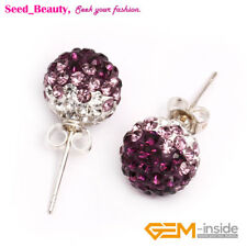 10mm Pave Beads Disco Ball Beads Silver-plated Rhinestone Earrings With Gift Box
