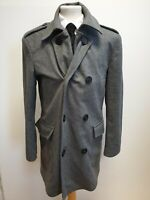 F594 MENS LUKE GREY WOOL DOUBLE BREASTED WOOL BLEND PEACOAT JACKET UK M EU 50