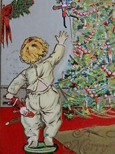 1910 Baby holding Santa Toy Clown Doll Julius Bien #510 Christmas Postcard Tree