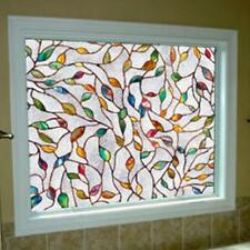 3D Leaf Static Cling Stained Glass Window Film Window Sticker Decor 45x100cm