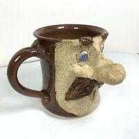 Stoneware Face Mug 3D Art Pottery Coffee Cup Big Nose Mustache Handmade Vintage