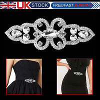Silver Diamante motif with Crystal Rhinestone Sew On Applique Bridal for Wedding