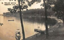 Real Photo Postcard Boaters on Yellow Banks in Webster Lake, Indiana~121485