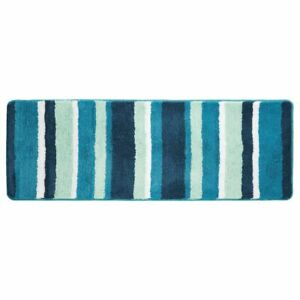 mDesign Striped Microfiber Polyester Rug, Non-Slip Spa Mat/Runner - Teal Blue