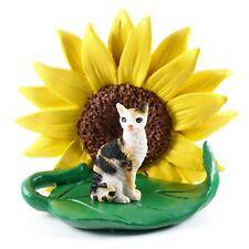 Tortoise & White Cornish Rex Cat Sunflower Figurine