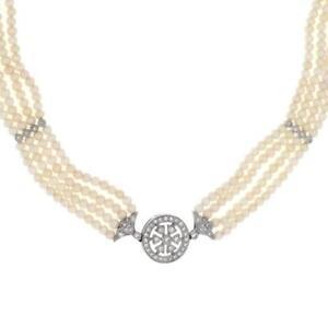 Vintage Diamond & Pearls 18k White Gold 4 Strand Choker Necklace LIQUIDATION!