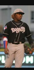 VLADIMIR GUERRERO JR  AUTOGRAPHED GAME USED JERSEY. 2017 ROAD LANSING LUGNUTS