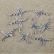 10x Silver ECG Heartbeat Wave Charm Pendants 36*22mm For DIY Jewelry Findings