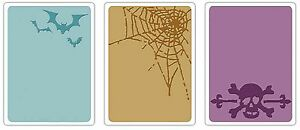 Sizzix Spooky Things Emboss 3-pk set #657464 Retail $10.99 Retired,Tim Holtz!!