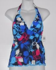 Caribbean Joe Ladies Tankini Halter Swim Top Navy Eight (8) NWT