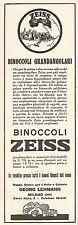 W2049 Binoccoli Grandangolari ZEISS - Pubblicità del 1929 - Vintage advertising