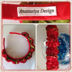 Handmade Red Fabric Paper Aster Flowers Hair Band Accessory Headband