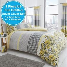 SAPHIRA GREY & YELLOW FLORAL UK DOUBLE/US FULL UNFILLED DUVET COVER & PILLOWCASE