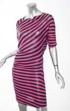 VIVIENNE WESTWOOD ANGLOMANIA Womens Red+Navy Striped Knit Ruched Draped Dress XS