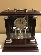 Wallace Silversmith m Brown Wooden Mantle Shelf Clock