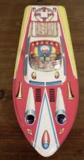 Vintage Tin Toy Boat Tin Race Boat With Driver Litho Made in Japan Rattle Inside