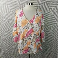 Lauri Lane Plus size 2X 18/20 Blouse Top Animal Print Floral Stretch Soft