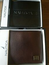 NWT MENS NAUTICA Brown or Black BIFOLD WALLET WITH ORIGINAL GIFT BOX