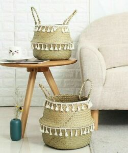 Handmade Bamboo Storage Baskets Seagrass Wicker Basket Garden Flower Pot Laundry