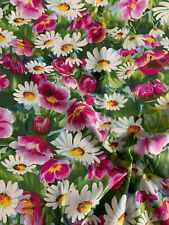 White & Pink Daisy Garden Floral Printed 100% Cotton Poplin Fabric.