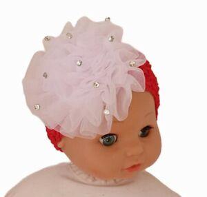 Christmas Hair Bow Chiffon White Red Baby Headband Newborn UK SELLER 🇬🇧