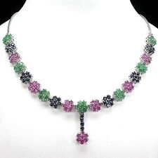 220.92 CT.NATURAL ROUND 144pcs. FANCY EMERALD,RUBY,SAPPHIRE 925 SILVER NECKLACE