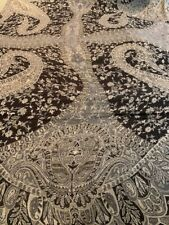 Indian Pashmina-Silk Bed Covering 10'x8' Black and Ivory