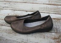 CLARKS CLOUDSTEPPERS Sillian Women's 8 Brown Pewter Flats Comfort Shoes Sneakers