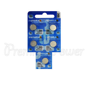 5 x Renata 395 Silver oxide batteries 1.55V SR927W SR57 399 Watch 0% Mercury