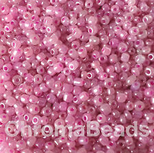 50g glass seed beads - Mauve Ceylon - approx 2mm (size 11/0) craft
