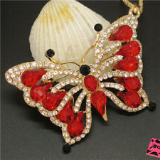 Hot Red Butterfly Insect Shiny Crystal Betsey Johnson Pendant Sweater Necklace