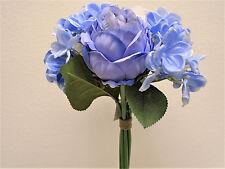 CR. BLUE PURPLE Rose Hydrangea Hand Tied Bouquet Artificial Silk Flower 7158CRBL