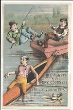 Trade Card: Comic Illus, Boating Accident, Fisherman Knocked Into Water, 1880s