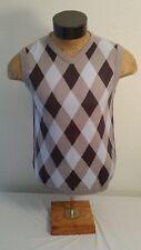 Buffalo David Bitton Blue Brown Cotton Vest Plaids & Checks Medium Men M