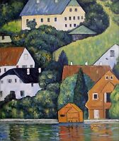 Quality Hand Painted Oil Painting Repro Gustav Klimt  Houses at Unterach 20x24in