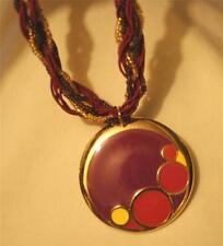 """Lovely Burgundy Purple Gold Twist Cord Retro """"Bubbles"""" Goldtone Pendant Necklace"""