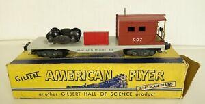 AMERICAN FLYER #907 POSTWAR WORK BOOM CABOOSE W/TOOL BOX & TRUCK-LN IN ORIG. BOX