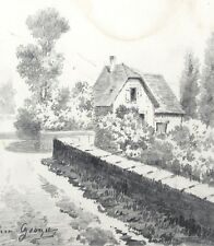 Antique French Pencil Drawing, Landscape, House, Garden, Stone Wall, Signed
