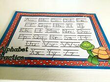 Turtle Blue Alphabet Handwriting Dry Erase Laminated Full Sheet Mat Brand New!