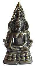 Figurine Bouddha assis trone bronze décoration bouddhiste miniature