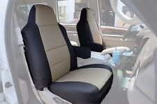 FORD F-250 350 2004-2010 BLACK/BEIGE S.LEATHER CUSTOM MADE FIT FRONT SEAT COVER
