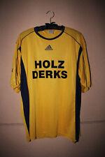 """Gelbes Trikot von Adidas, Rückennummer 7, Sponsorenaufdruck """"Holz Derks"""", Gr. XL"""