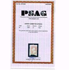 GENUINE SCOTT #94 USED 1868 RED PSAG CERT CLEAR F-GRILL - ESTATE SALE