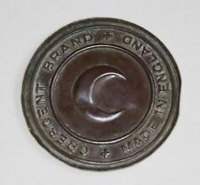 CRESCENT BRAND Made in England- Antique Brass Plaque-Shipping Label, Glue ?
