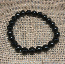 Black Agate 8mm Bead Bracelet -Stretch - Crystal Healing - Fast Free US Shipping