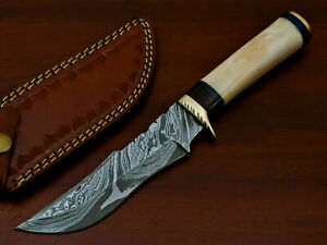 HAND FORGED DAMASCUS STEEL HUNTING KNIFE-CAMEL BONE HANDLE-AD-7138