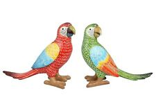 More details for macaw parrot colourful carved ornament red, green long tail standing figures